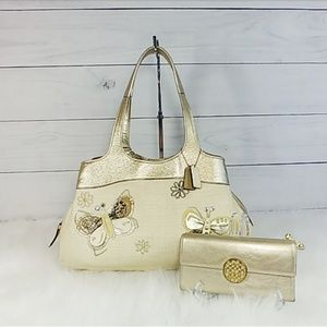 Coach Lexi Straw Butterfly Shoulder Bag and Wallet